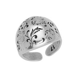 Ring dome bold with floral pattern 17mm 20 x 23mm