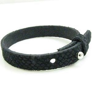 Cuir Armband DQ Suede 10mm Reptiel Navy Blauw