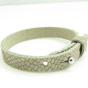 Cuir Armband DQ Suede 10mm Reptiel Champagne