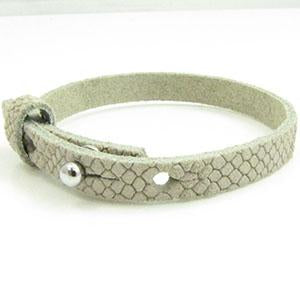 Cuir Armband DQ Suede 8mm Reptiel Champagne