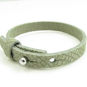 Cuir Armband DQ Suede 8mm Reptiel Sage Groen
