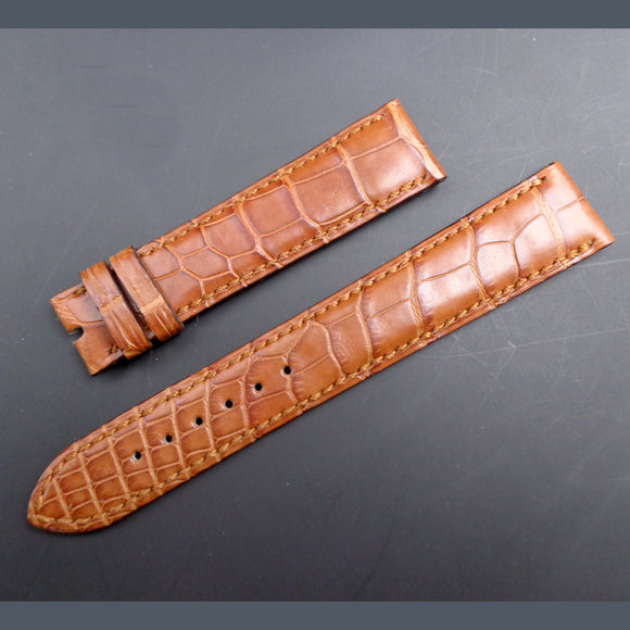 "Parmigiani Fleurier brand new brown alligator strap ""Cousu Main"""