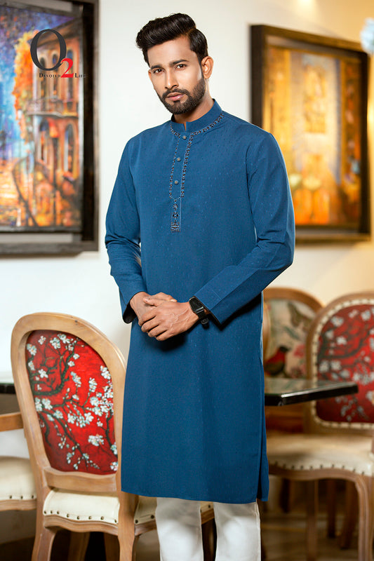 Zardozi work Classic fit panjabi in Steel Blue