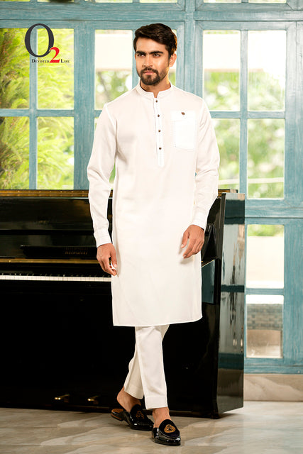 Shuttle Stitch premium linen Long Panjabi in White