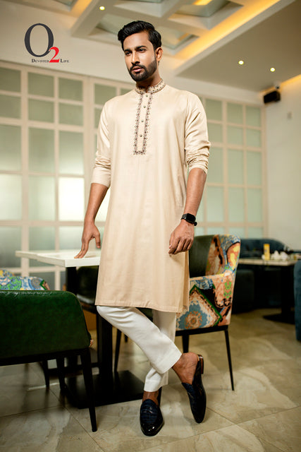 Zardozi work Classic fit panjabi in Tan