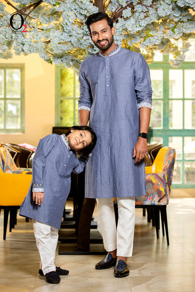 QUILT Blue kid's Panjabi