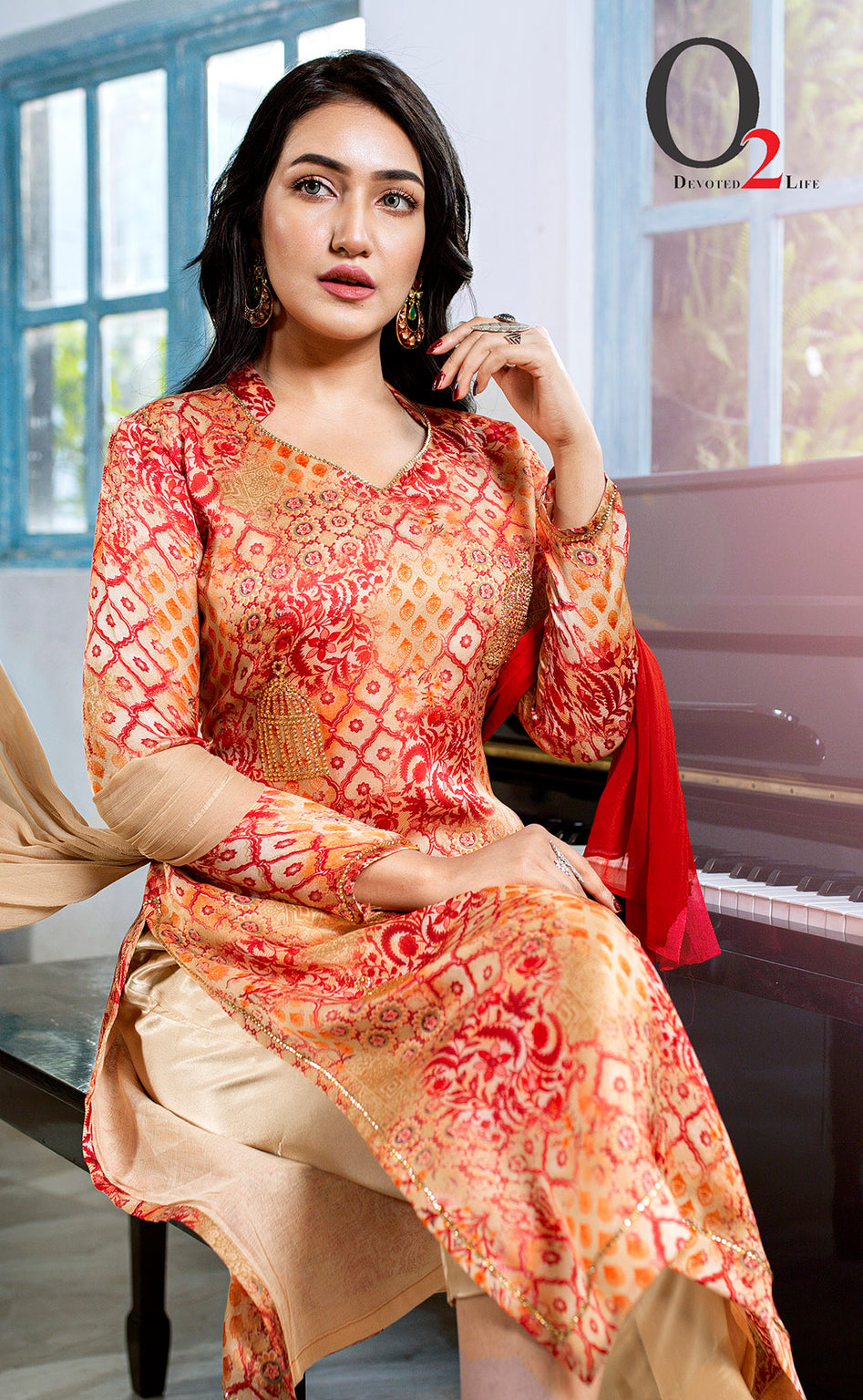 Printed Beige stone cage Kameez With Pant