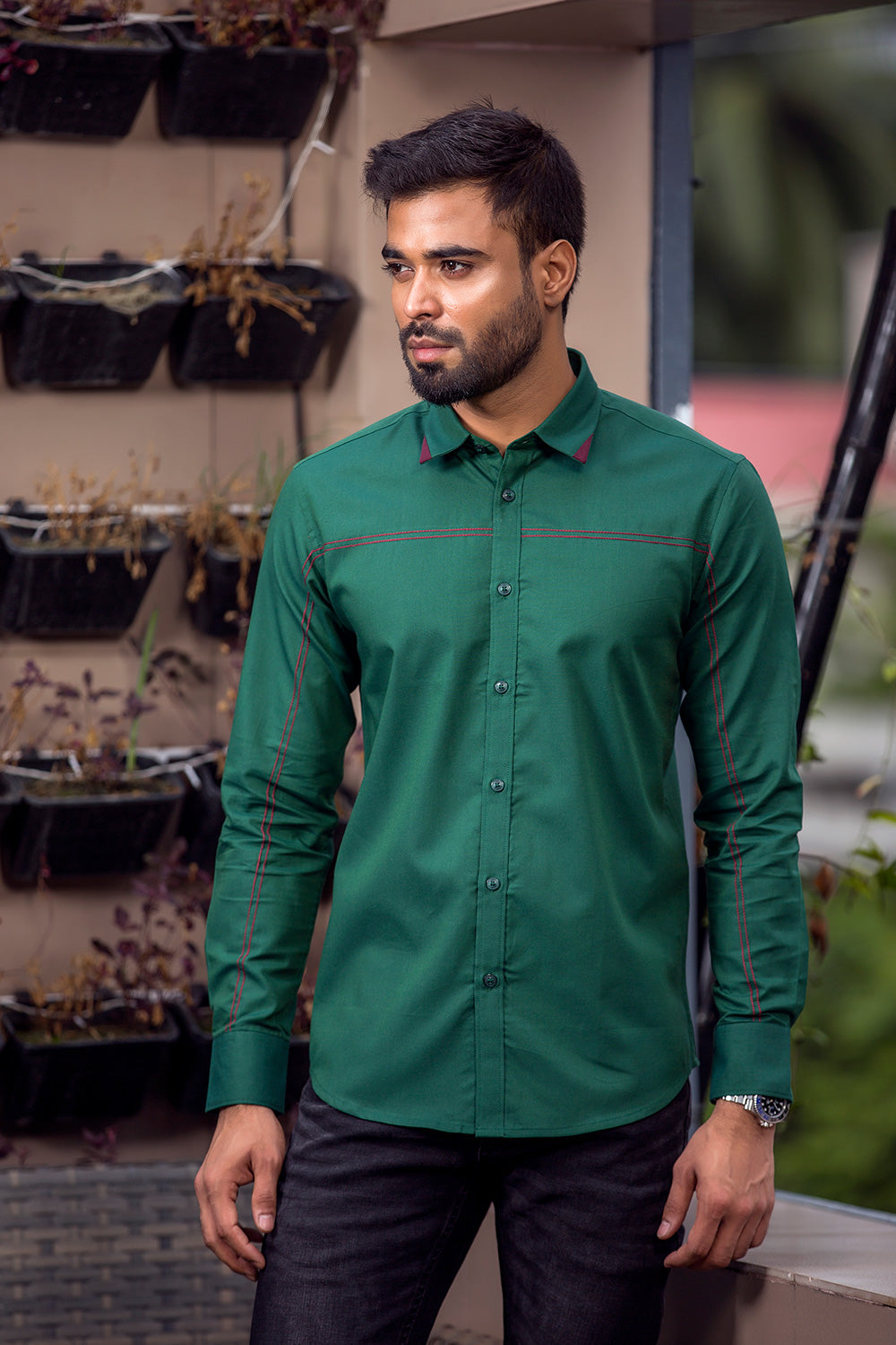 Winter shirts for men casual Green