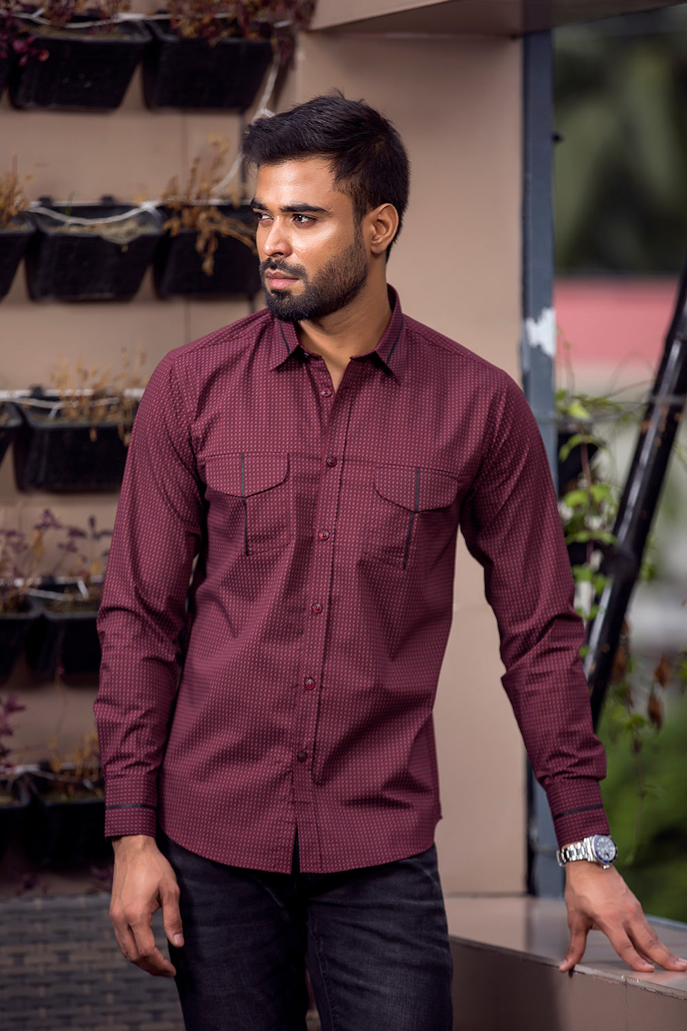 Winter shirts for men casual Maroon