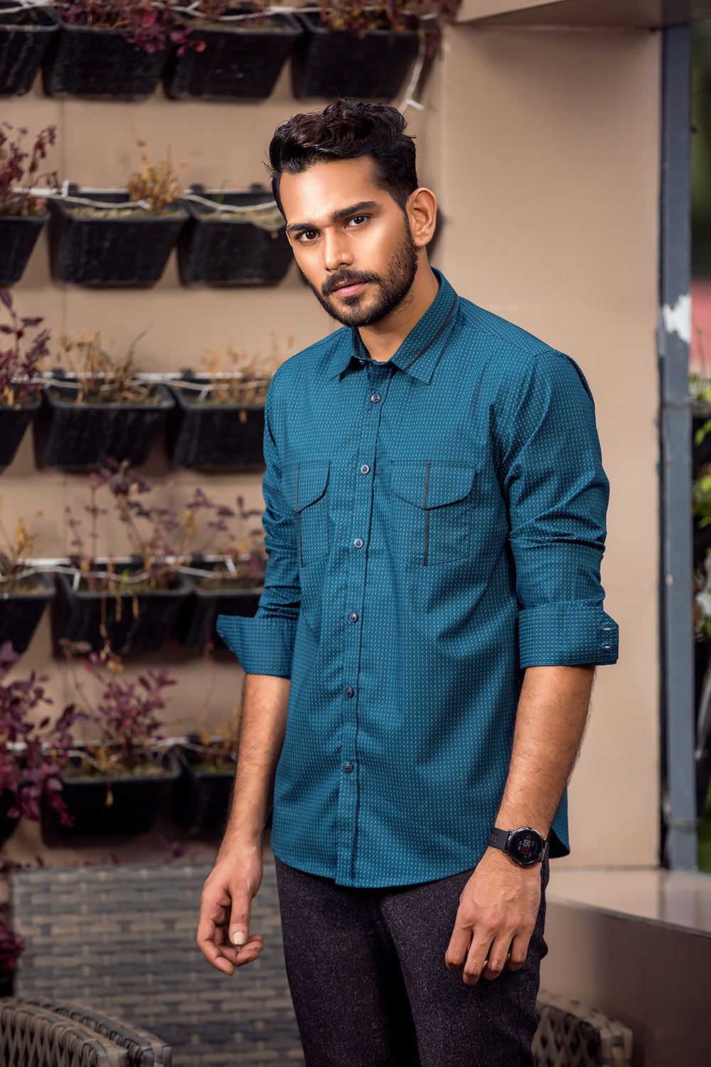 Winter shirts for men casual Sea Green