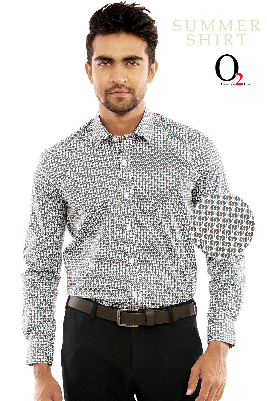 White Blue Printed Full Sleeve Shirt