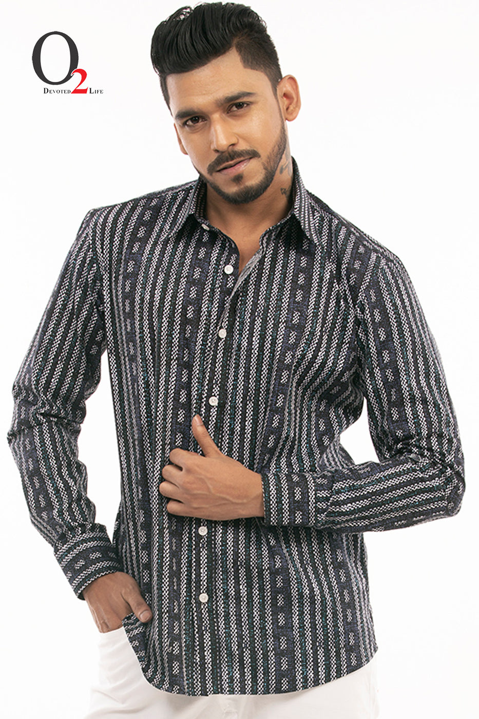 Black Swhite Printed Full Sleeve Fashion Shirt