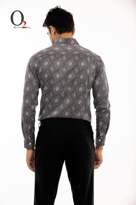 Black & White Printed Full Sleeve Shirt