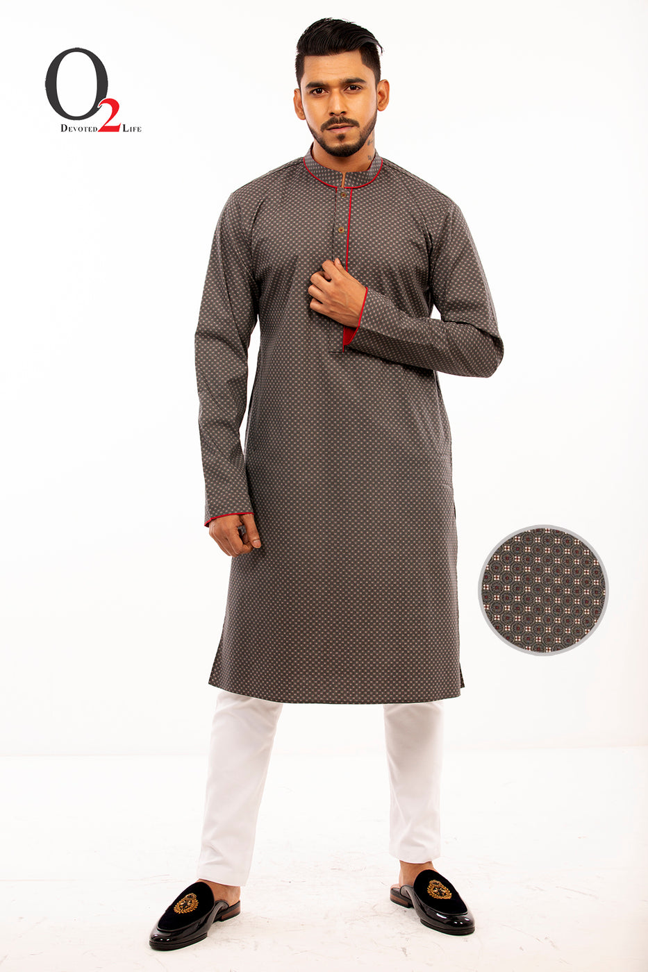 Premium Cotton Slimfit Panjabi In Ash