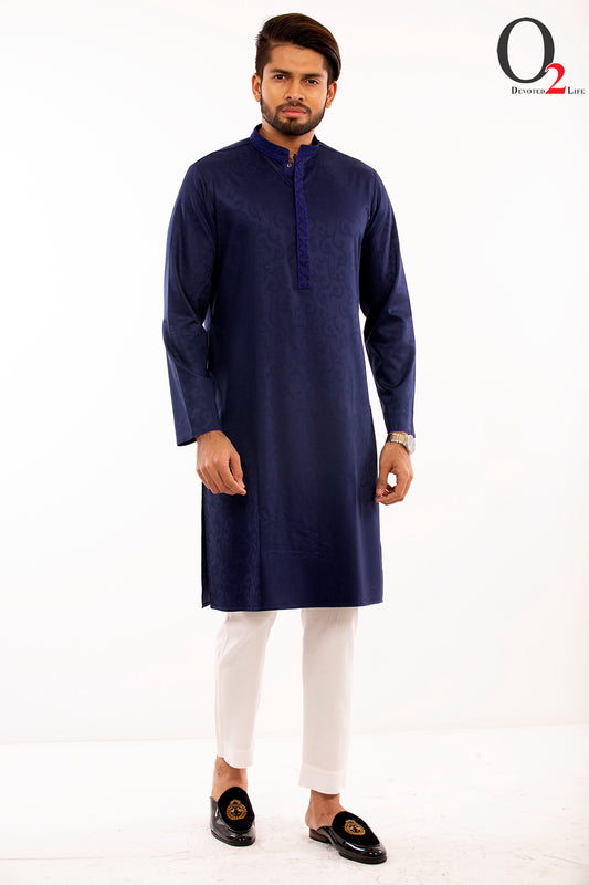 Zardozi work Classic fit panjabi in Blue