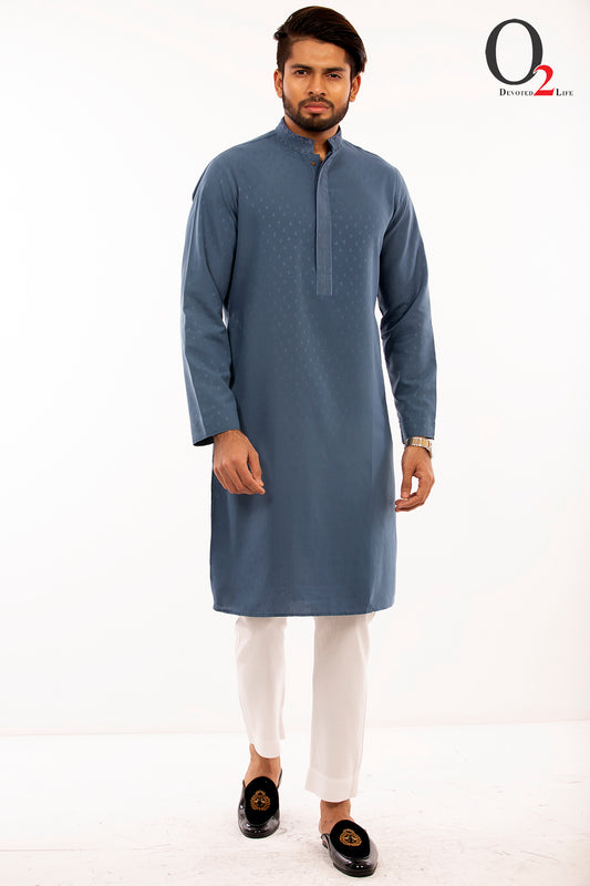 Zardozi work Classic fit panjabi in Prussian Blue