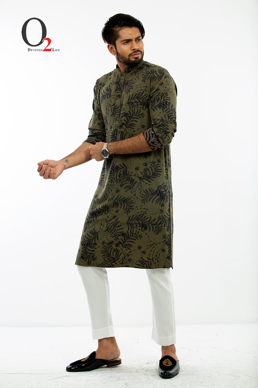 Embroidery Classic fit panjabi in Olive