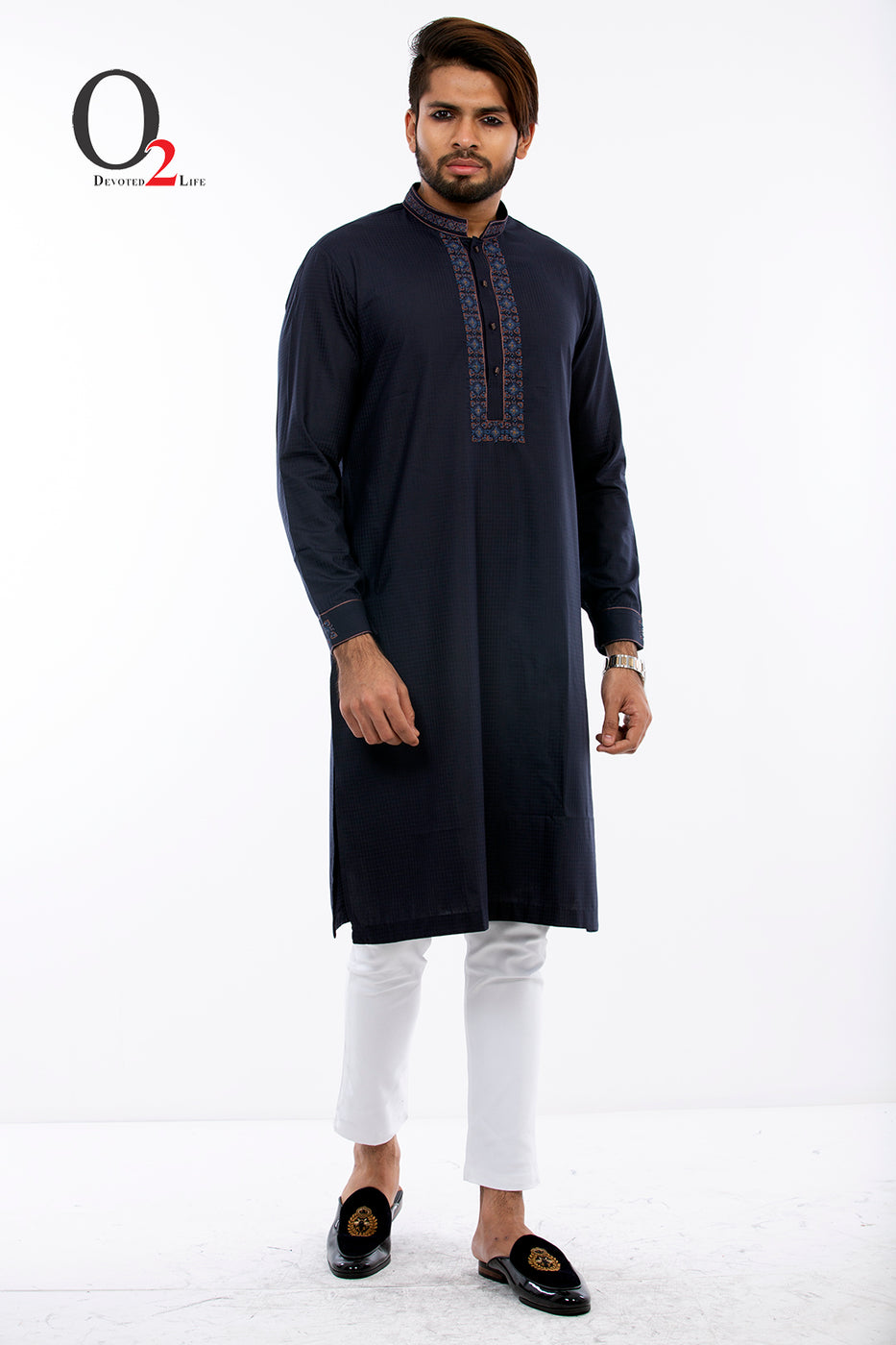 Zardozi work Classic fit panjabi in Navy Blue