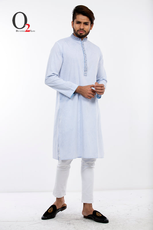 Sky Blue Self-design Exclusive Panjabi