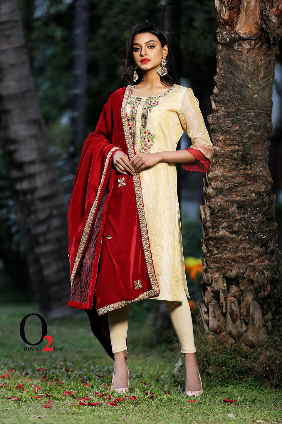 Golden Organza Zardosi Long Kameez