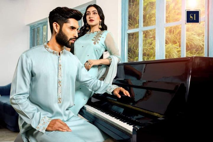 Zardouzi muslin suit and Panjabi Couple Collection
