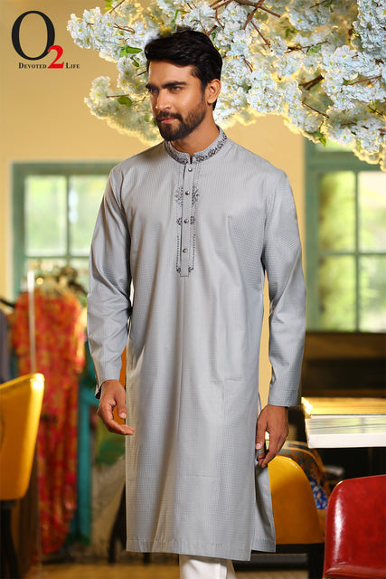 Karchupie work Classic fit panjabi in Gray