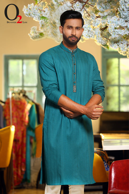 Karchupie work Classic fit panjabi in TEAL