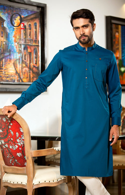 Shuttle Stitch premium linen Classic fit Panjabi in Teal