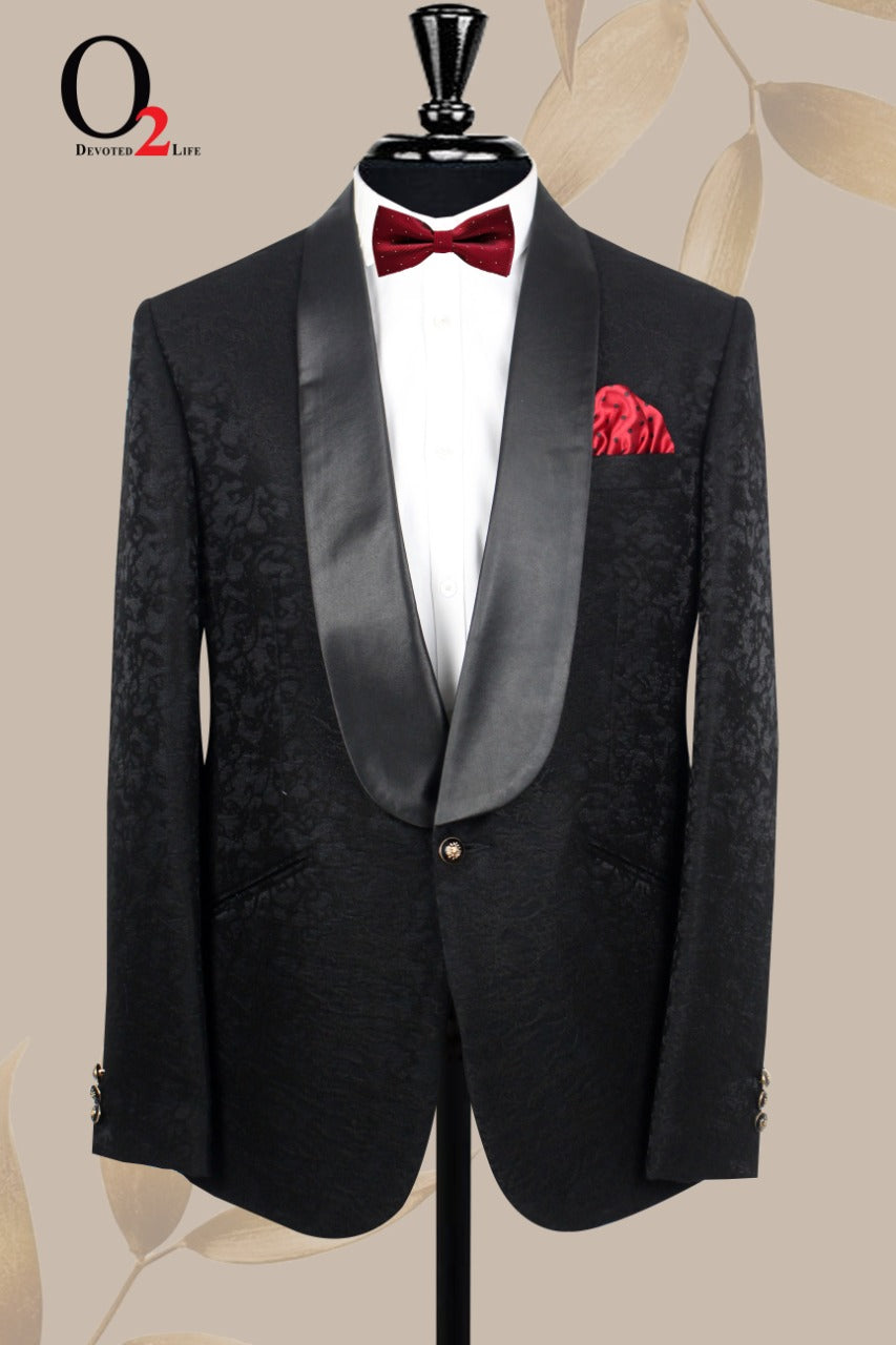 Black Jacquard Velvet Fabric Dinner Lapel Suit