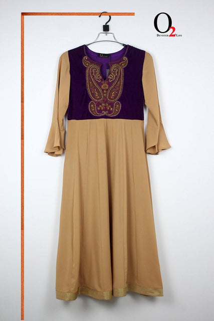 Beige n Purple Long Kurtis