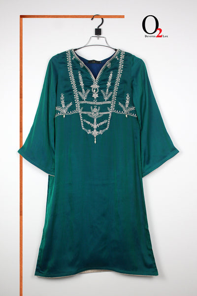 Bottle Green Embro Kurti