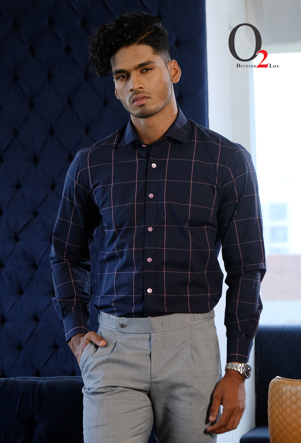 Full Sleeve Midnight Blue Square Check Shirt