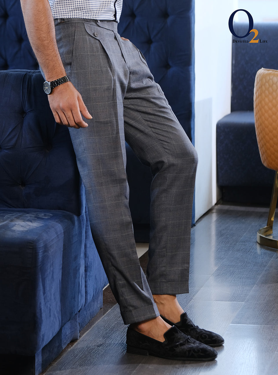 Tile Plated Dark Ash Check Buckle Pant