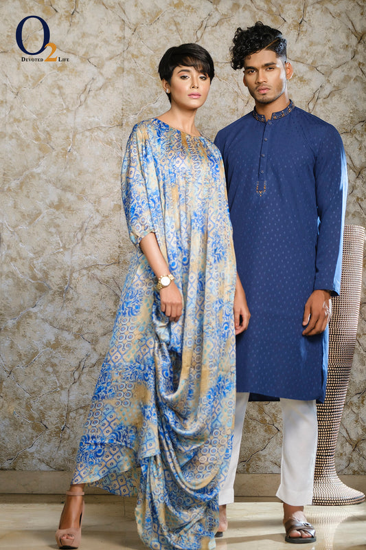 Blue Draped Cowl Dress and Blue Panjabi