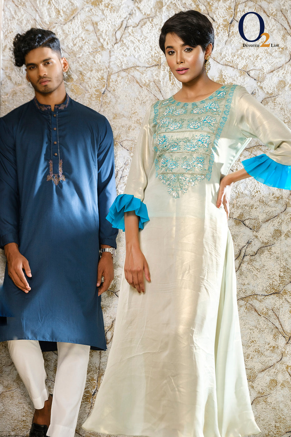 MINT MUSE FRILL GOWN & TEAL Panjabi Couple Collection