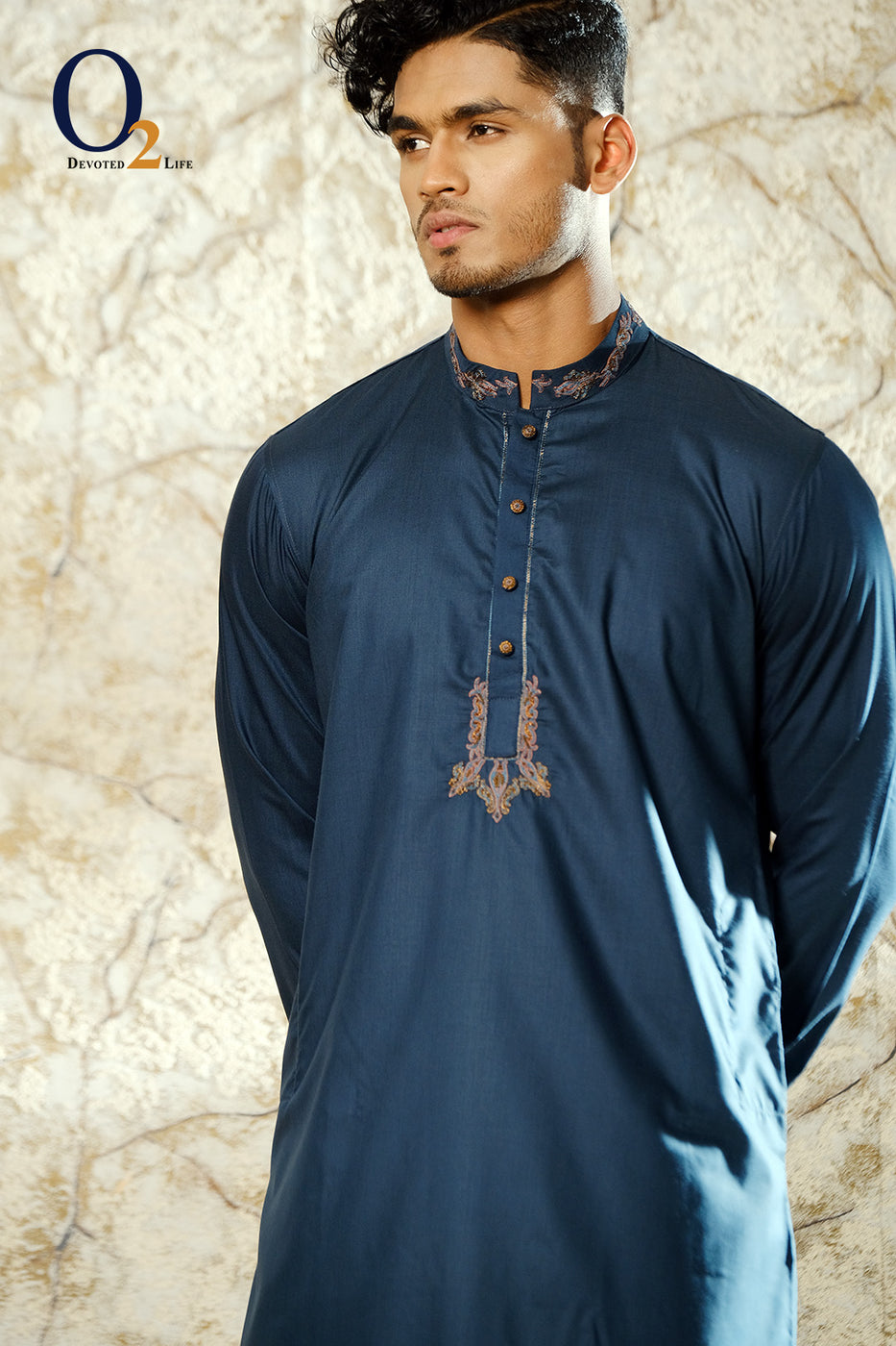 TEAL Zardozi Long Panjabi