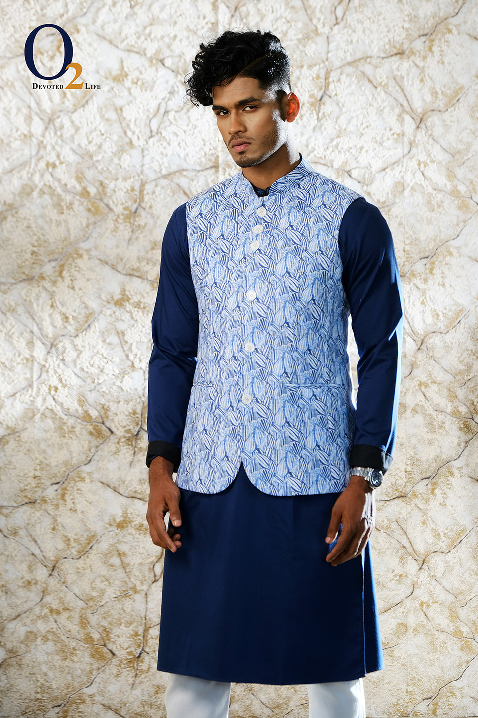 Blue SPrinted Ethnic Vest