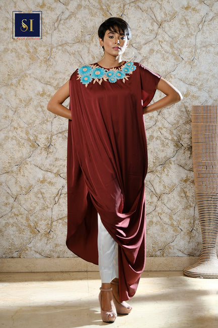 Garnet Draped Cowl Dress Comes with Pant