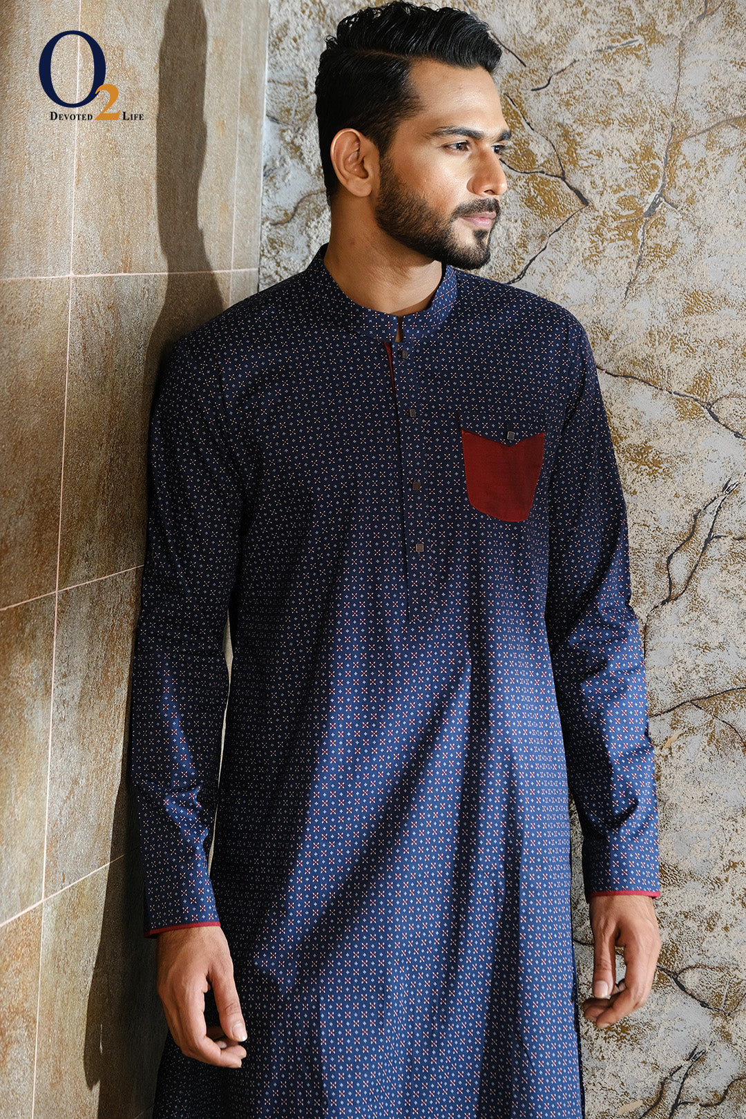 Navy Blue Printed Slim Fit Panjabi