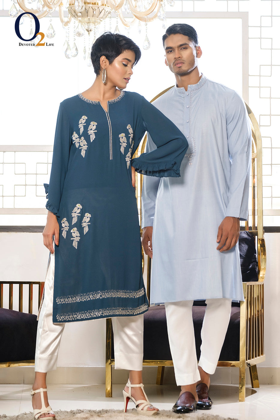 SILVER BIRD  HANDWORK KURTI COMES WITH PANT AND PANJABI