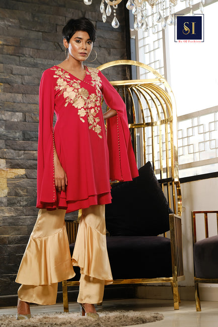 INDO WETERN RED WINE TOPS COMES WITH PANT