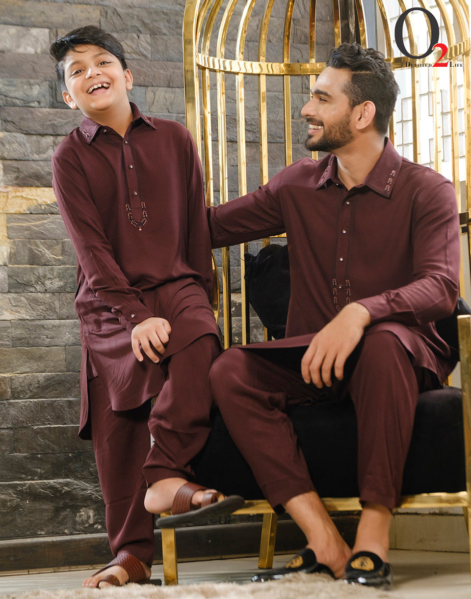 Zardozi work Kids Kabli Set in Panny Chocolate