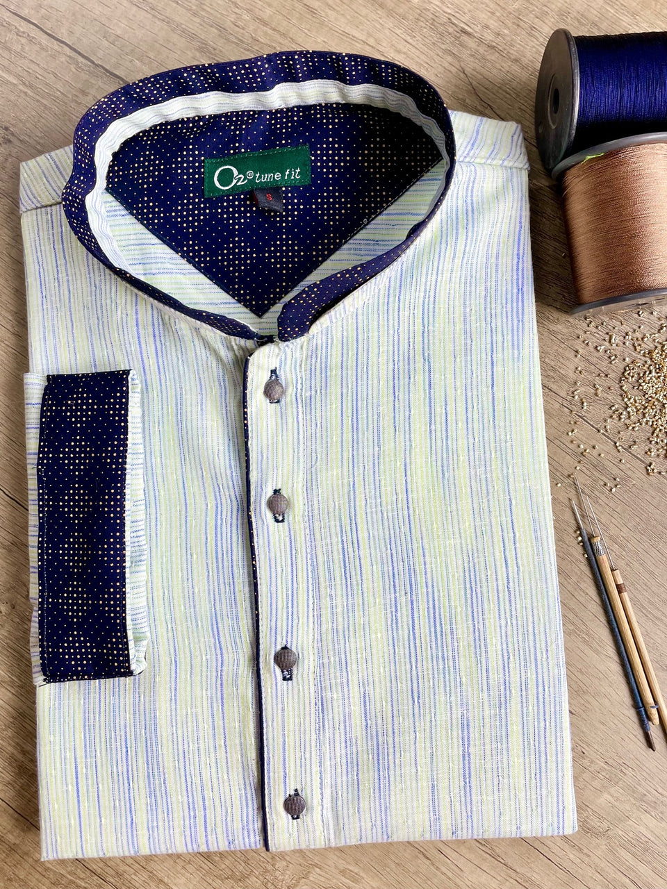 Lemon Green & Blue Tune fit panjabi