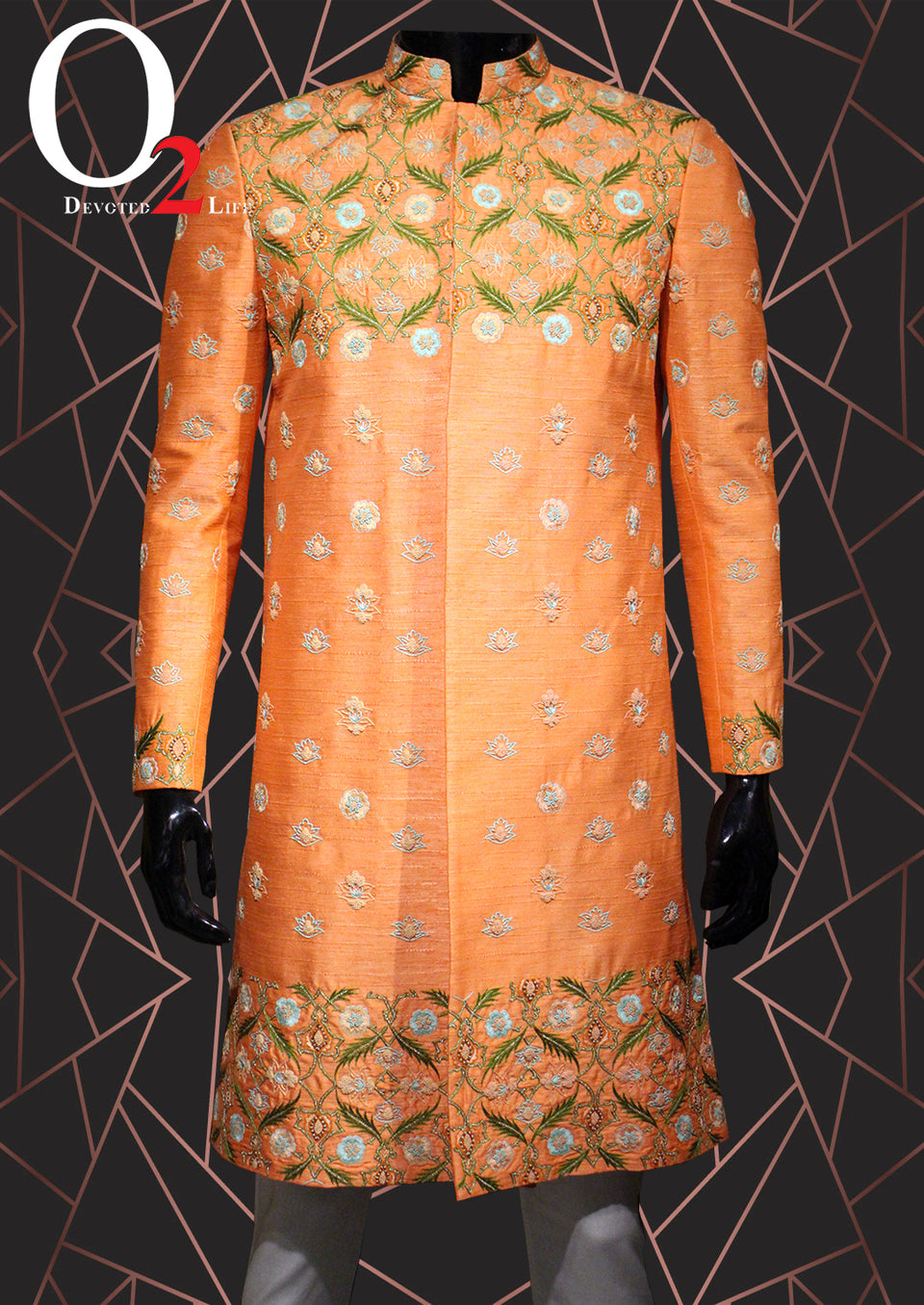 Jarduzi Orange Sherwani