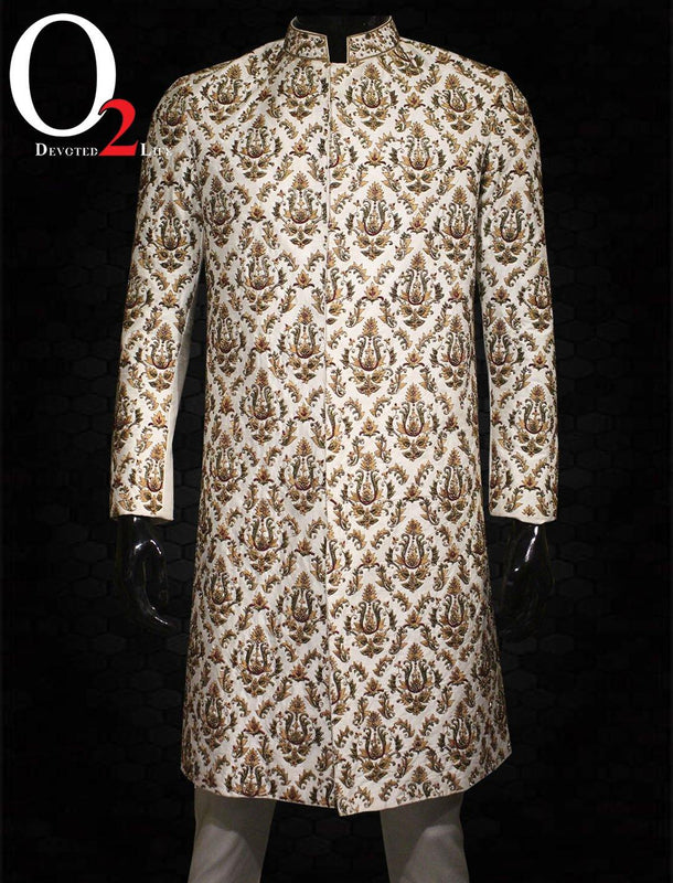 Beautifully Patterned Cream Jarduzi Sherwani