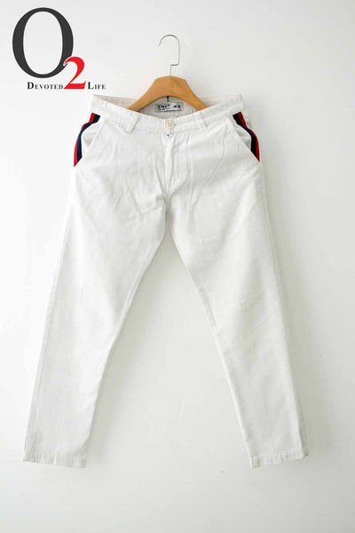 White Doby Cotton Twill Pants