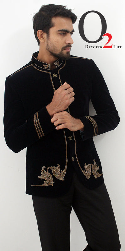 Black Embroidered Zardozi work Prince Coat