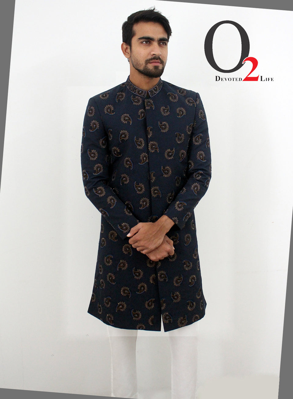 Royal Prince Suits Black Navy Zardosi