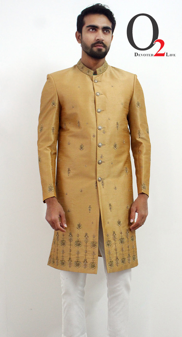 Golden Sherwani Zardosi work