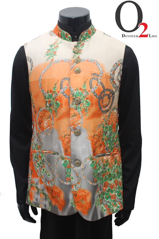 Digital Art Satin Fabric Vest in Orange
